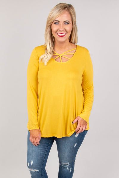 shirt, long sleeve, scoop neck, spider web neck, flowy, mustard, solid, comfy