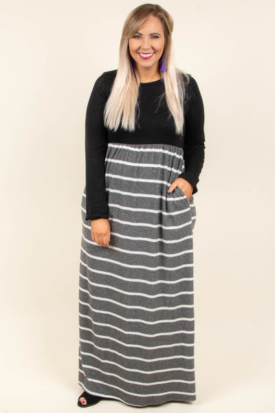 dress, maxi, long sleeve, pockets, fitted top, black top, charcoal, white, striped skirt, flowy, comfy, fall, winter
