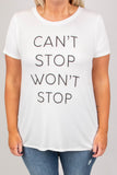 Can't Stop Won't Stop Tee, White