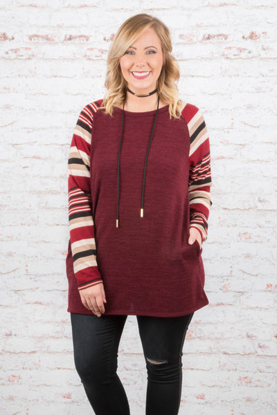 Good Vibes Only Tunic, Burgundy