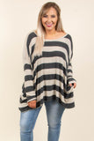 shirt, long sleeve, asymmetrical hem, scoop neck, flowy, charcoal, taupe, striped, fall, winter, comfy