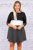 dress, short, half sleeve, round neck, colorblock, polka dots, black, ivory