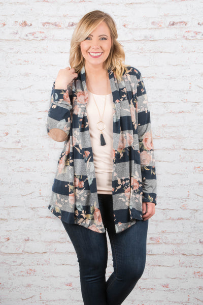 Just Roll With It Cardigan, Navy