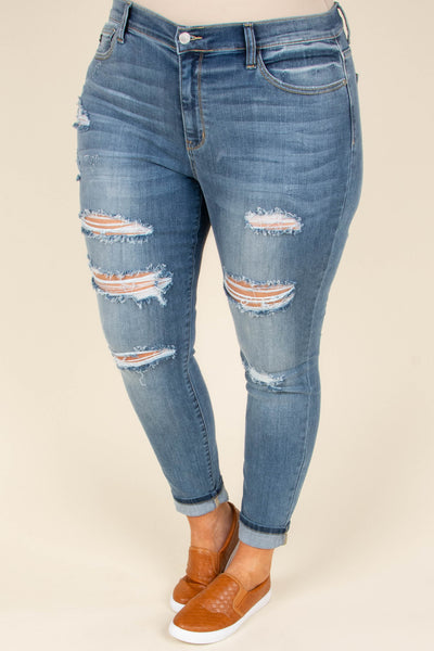 Thank Me Later Skinny Jeans, Medium Wash