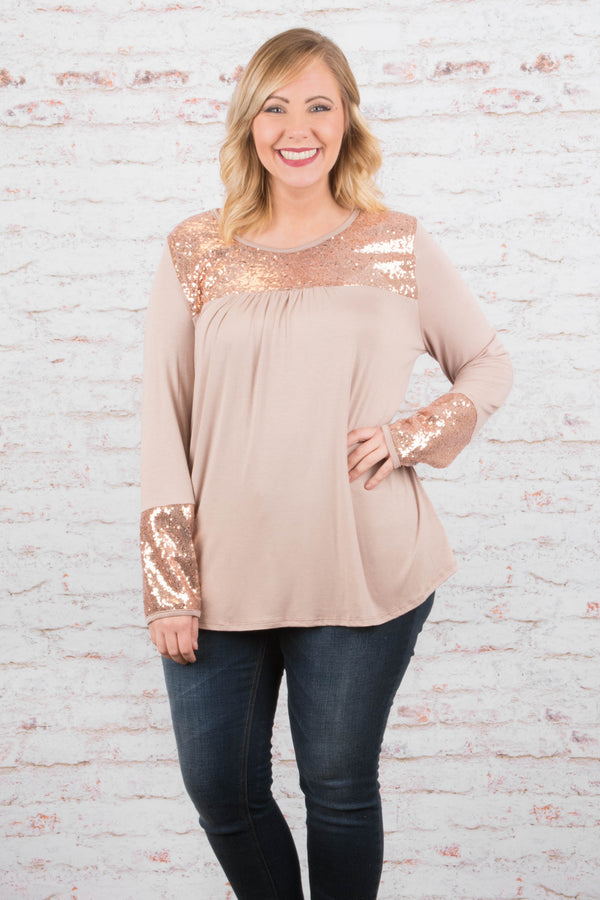 Dare To Dazzle Tunic, Taupe