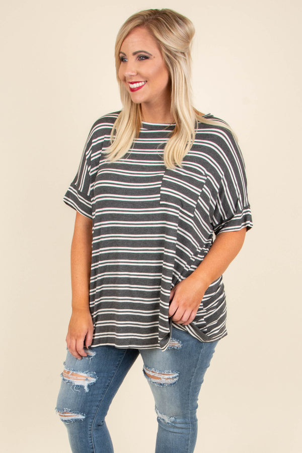 shirt, short sleeve, cuffed sleeves, chest pocket, curved hem, flowy, charcoal, white, striped, comfy
