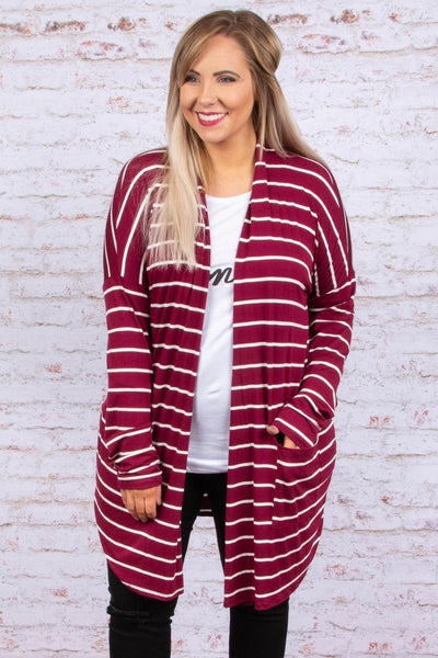 New Vision Cardigan, Burgundy
