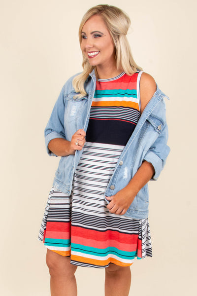 Start With Stripes Dress, Coral