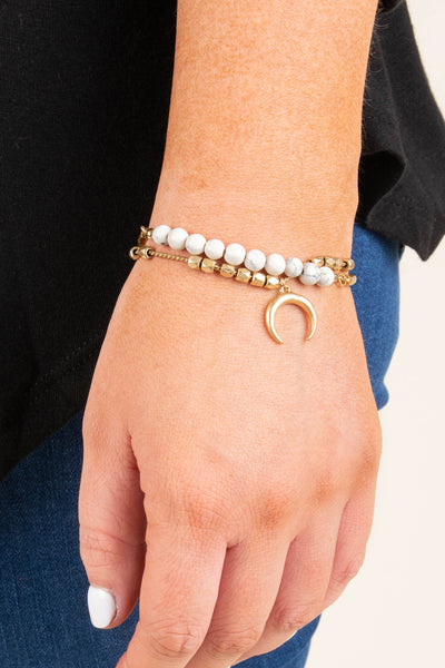 bracelet, two bands, gold, white, beads, moon charm, dainty