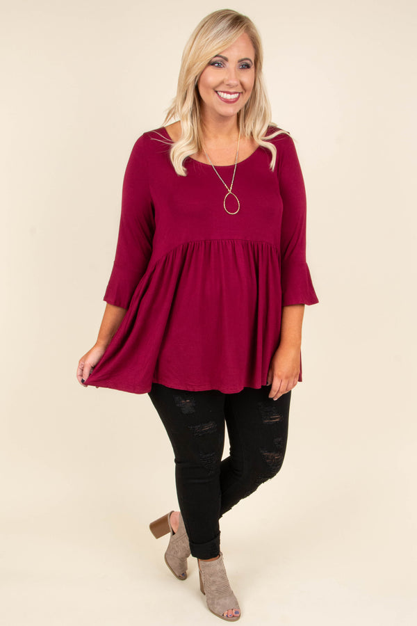 shirt, three quarter sleeve, babydoll, bell sleeves, burgundy, comfy, flowy