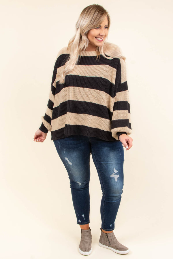 top, sweater, striped, cream, charcoal