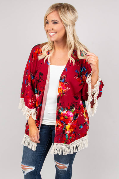Love On The Brain Kimono, Burgundy