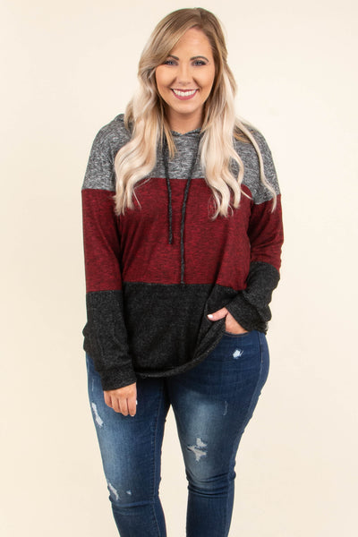 pullover, long sleeve, hood, drawstrings, loose, gray, burgundy, black, colorblock, comfy, outerwear