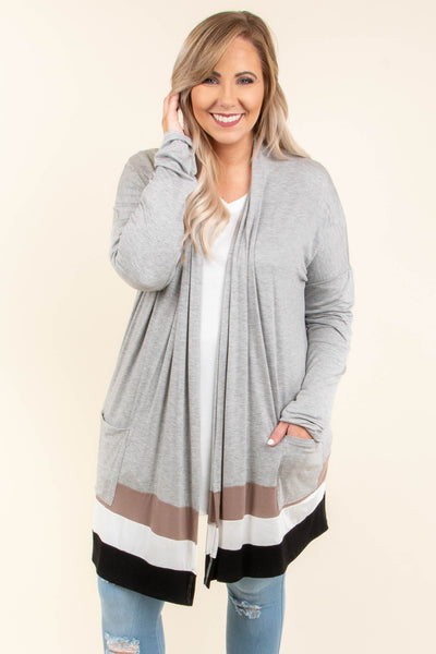 cardigan, long sleeve, long, pockets, flowy, gray, taupe, white, black, colorblock, comfy