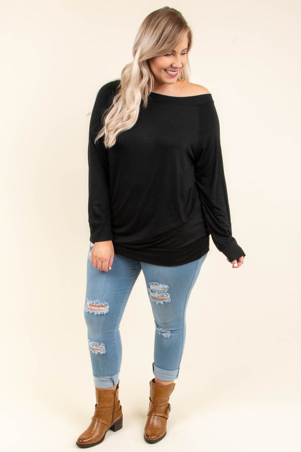 shirt, long sleeve, off the shoulder, fitted, black, comfy, fall, winter
