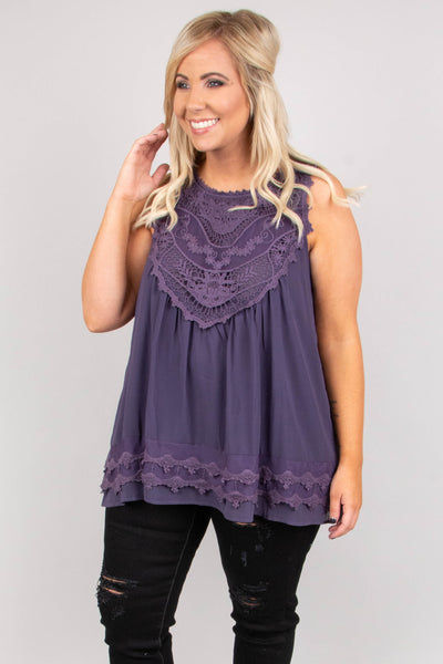 top, tank top, flowy, crochet detail, grape