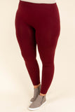 Luxe Leggings, Long Burgundy
