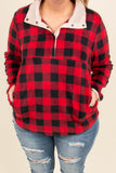pullover, long sleeve, pockets, quarter snaps, red, black, plaid, white trim, comfy, outerwear, fall, winter
