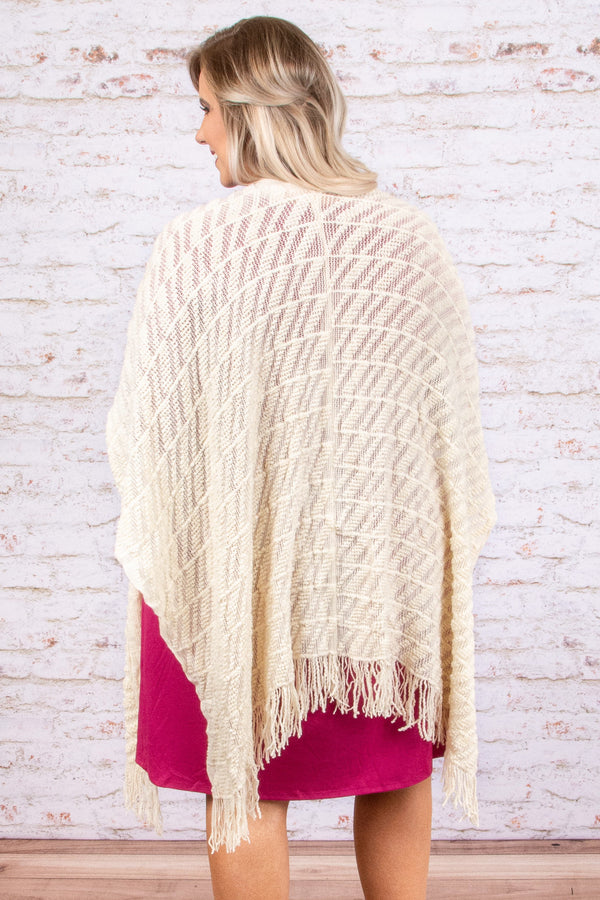 top, poncho, white, solid, fringe, three quarter sleeve, fall, winter, comfy