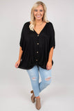 top, v neck, button down, tie waist, short sleeve, black