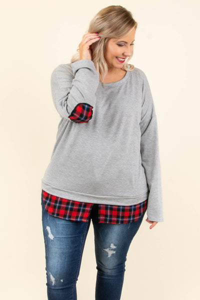 shirt, long sleeve, elbow patches, gray, plaid details, red, navy, white, comfy, fall, winter