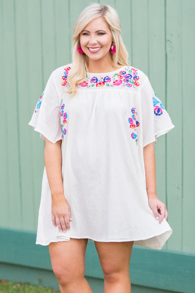 dress, short sleeve, white, short, flowy, embroidery, pink, blue, multi