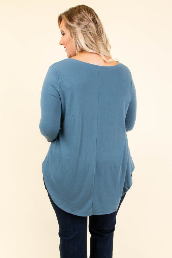 top, basic, grey, gray, blue, solid, long sleeve, v-neck, cute, classic, comfy