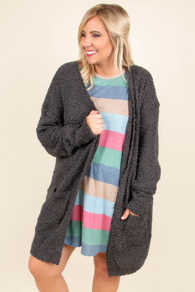 cardigan, charcoal, long sleeve, pocket, open, cozy, comfy