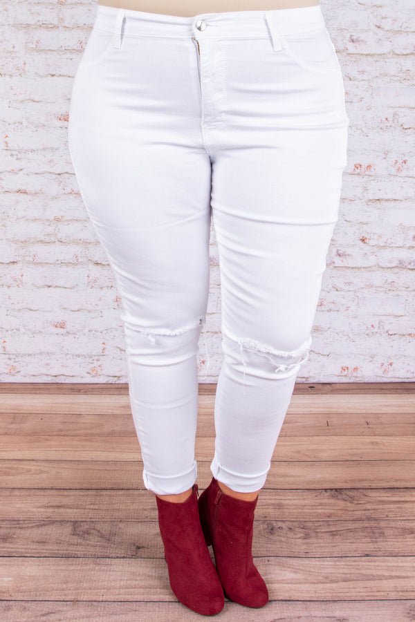 VIP Treatment Skinny Jeans, White