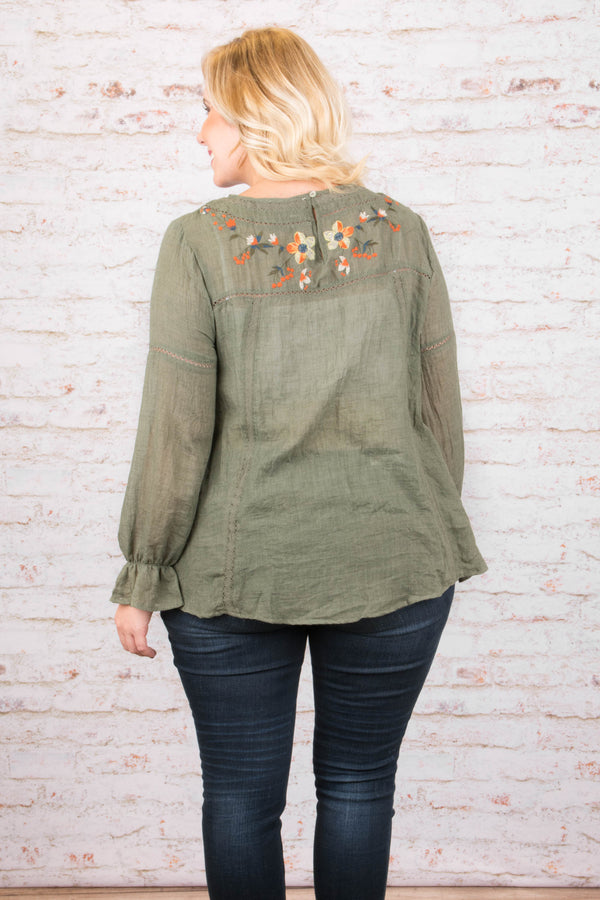 Maybe Another Day Blouse, Olive