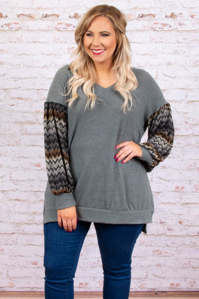 tunic, long sleeve, vneck, bubble sleeve, side slits, brown, chevron sleeves, gray, comfy, fall, winter