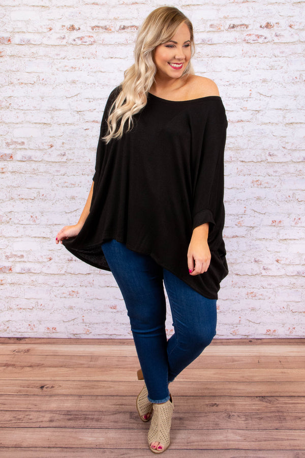 shirt, short sleeve, longer back, off the shoulder, flowy, bubble sleeve, black, solid, comfy