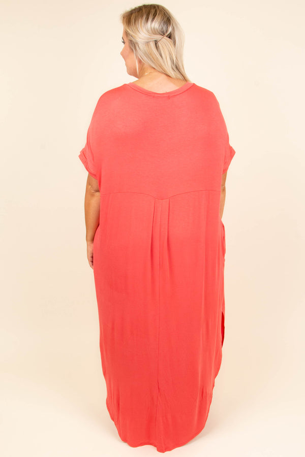 dress, maxi, short sleeve, vneck, high slit, curved hem, flowy, coral, comfy