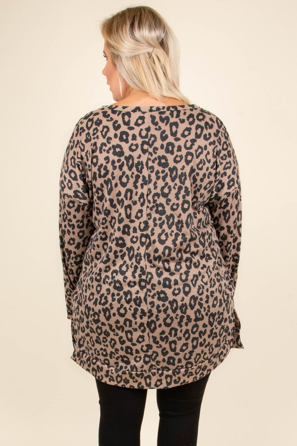 tunic, long sleeve, vneck, pockets, flowy, brown, black, leopard, comfy, fall, winter