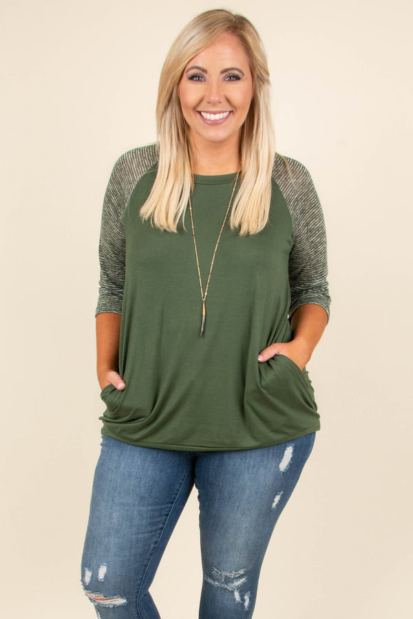 Chilly Afternoons Top, Olive