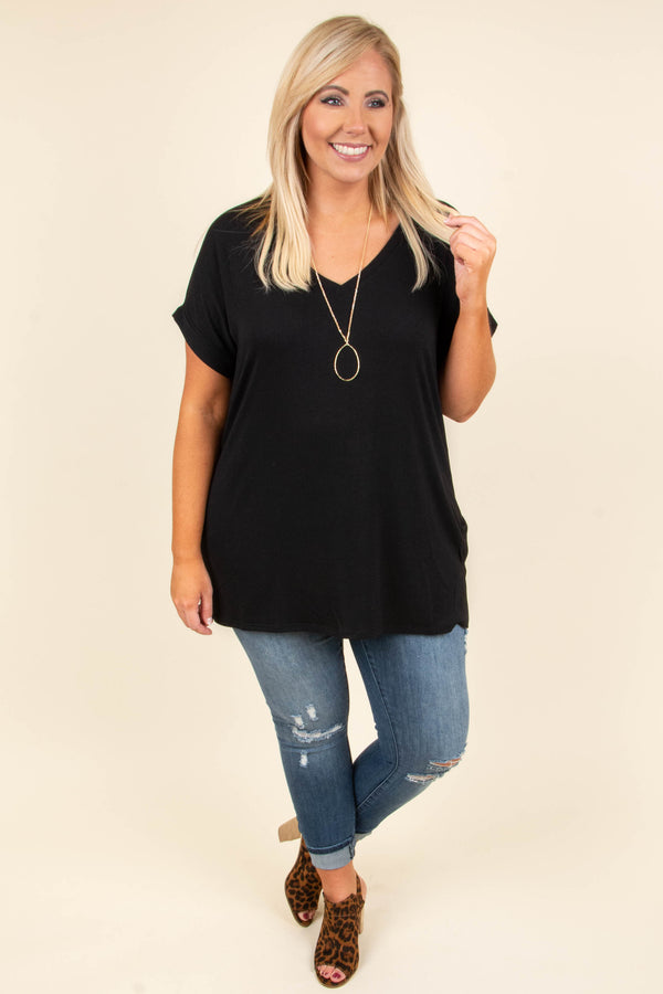 shirt, short sleeve, vneck, side slits, flowy, black, solid, comfy, cuffed sleeve