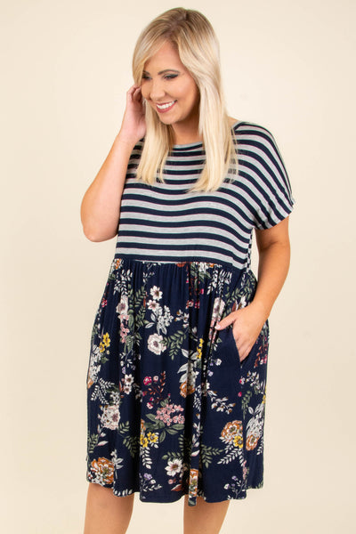 Find Your Confidence Dress, Navy