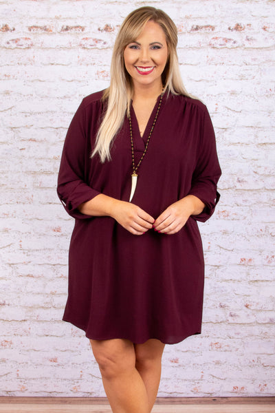dress, short, three quarter sleeve, buttoned cuffs, vneck, flowy, wine, comfy