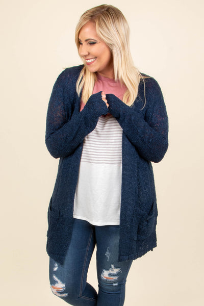 cardigan, long sleeve, long, pockets, navy, solid, fuzzy, comfy, fall, winter