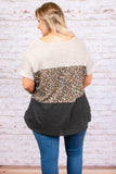 shirt, short sleeve, loose, cuffed, colorblock, gray, leopard, brown, tan, comfy