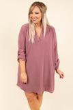 dress, short, three quarter sleeve, buttoned cuffs, vneck, flowy, mauve, comfy