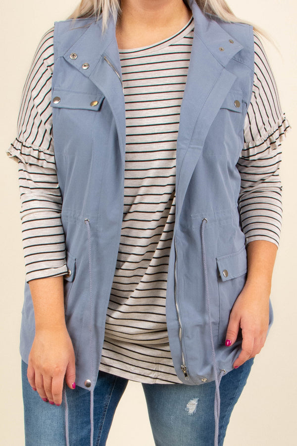 vest, dusty blue, sleeveless, cinched waist, fall, solid, pockets