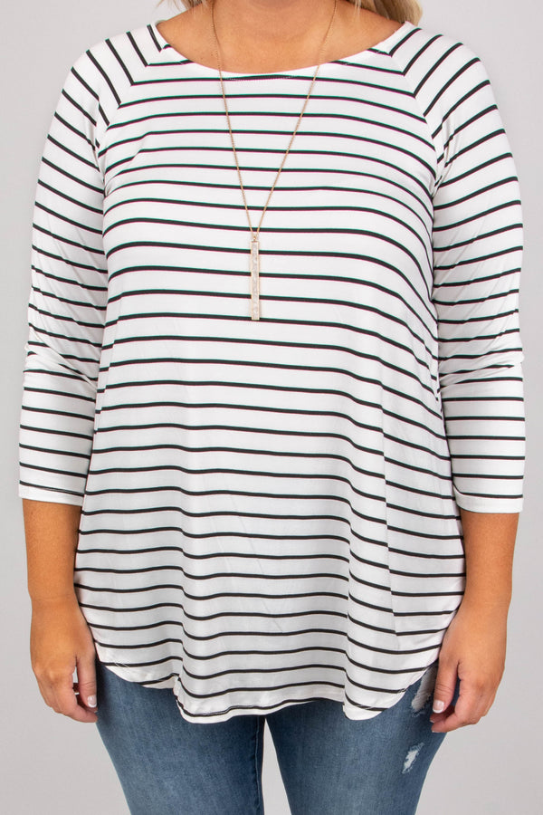 top, three quarter sleeve, white, black stripe, flowy, fall, winter