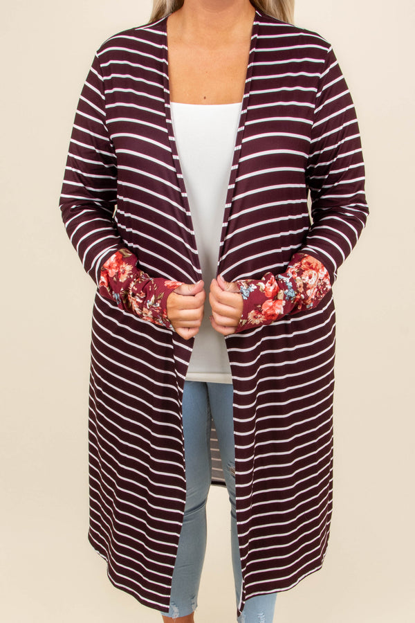 No Love Lost Cardigan, Wine-Ivory