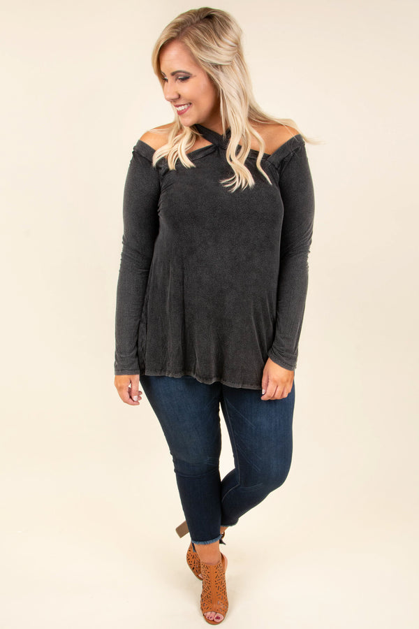 top, long sleeve, neckline detail, charcoal