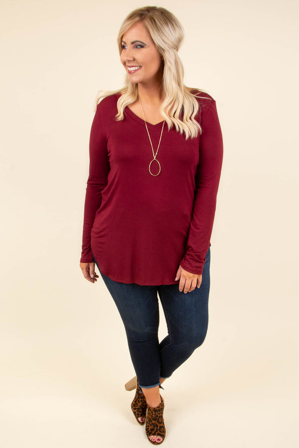 shirt, long sleeve, vneck, flowy, burgundy, solid, basic, comfy