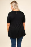 shirt, short sleeves, black, solid, white lace hem, loose, comfy