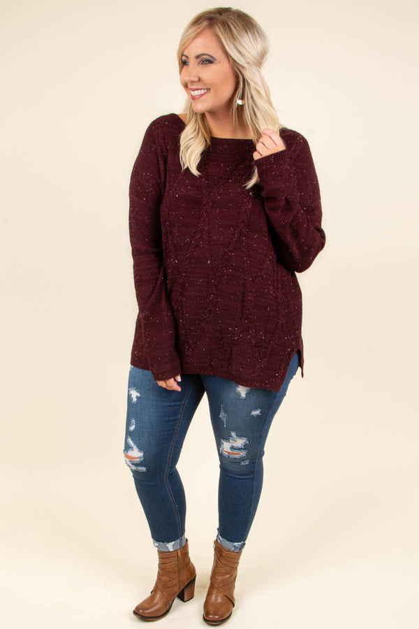 sweater, long sleeve, burgundy, speckled, cozy, fall, winter
