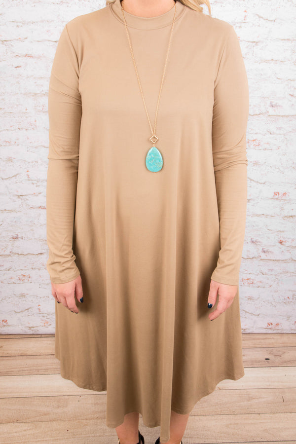 Comfy Queen Dress, Taupe