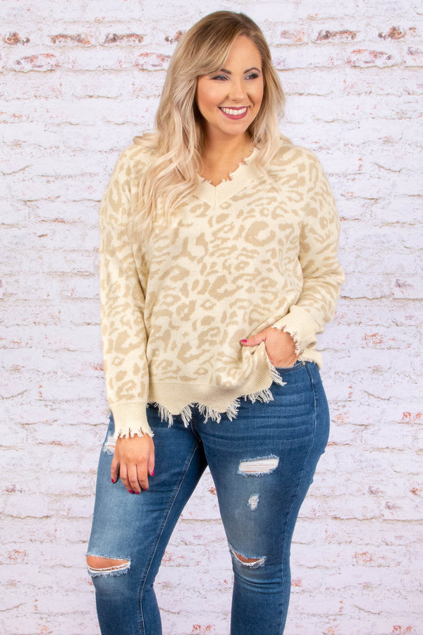 top, sweater, long sleeve, distressed, leopard, cream, v neck